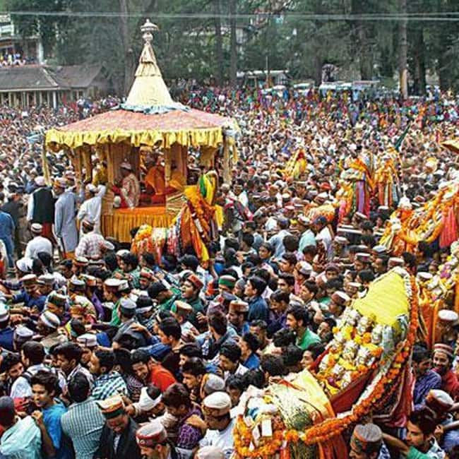 A picture of Dussehra celebrations in Kullu, Himachal Pradesh