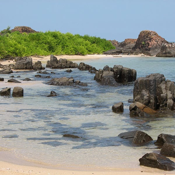 A picture of 'St. Mary's Island' near Malpe coast of Udupi in Karnataka