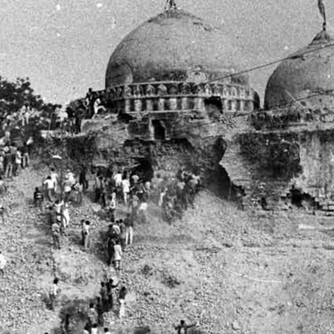 A view of volunteers on Babri Masjid in Ayodhya