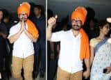 Is Aamir Khan supporting BJP during political season with saffron color turban at his birthday bash? See HQ pics