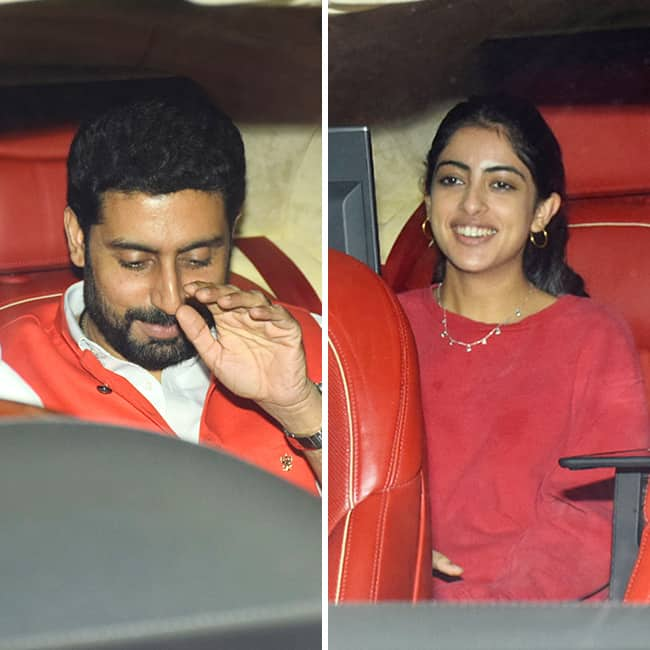 Abhishek Bachchan and Navya Bachchan  heading for Farah Khan   s birthday party