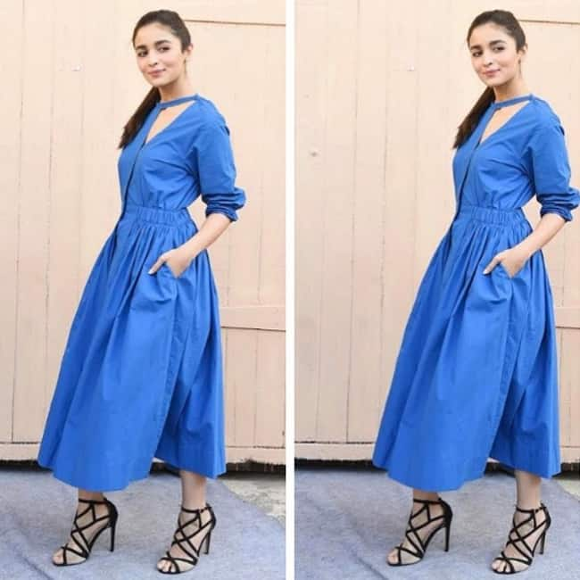 Alia Bhatt in blue denim midi dress
