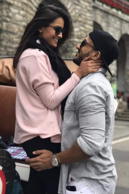 Anita Hassanandani embracing husband Rohit Reddy in Switzerland