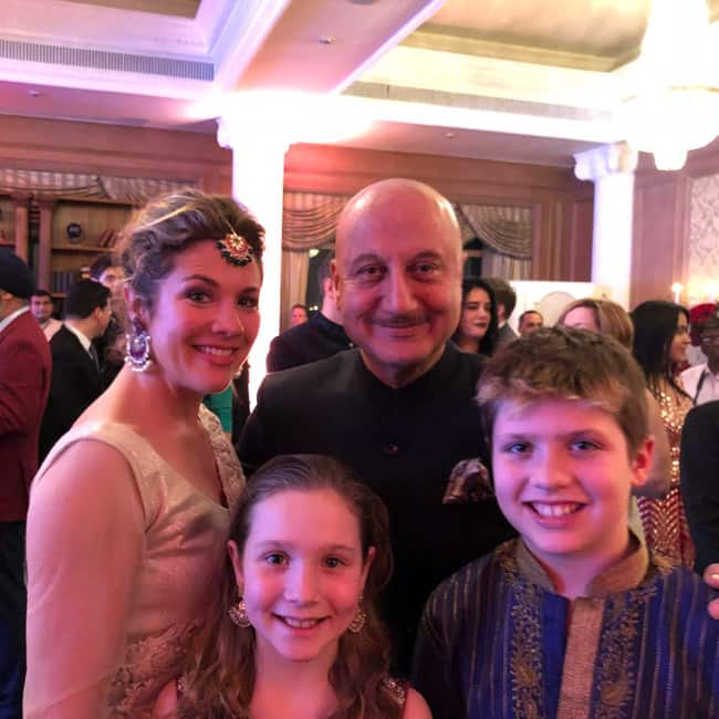 Anupam Kher snapped with Sophie Trudeau and her kids