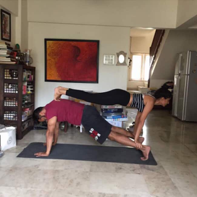 Anurag Kashyap working out with girlfriend Shubhra Shetty