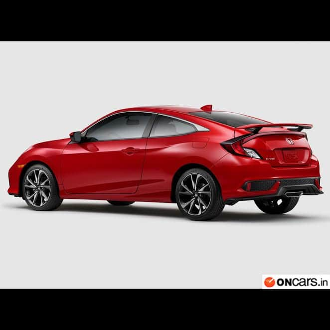 At the rear  the Si Sedan includes larger side vent features and a deck lid spoiler incorporating a LED brake light  The Si Coupe continues the Civic Coupe  039 s distinctive full width light bar and adds a raised spoiler