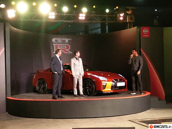 Bollywood Star and brand ambassador arrived at the launch event of new 2017 Nissan GT-R sports car which has been launched in the Indian market finally.