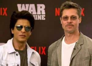 PHOTOS: Shah Rukh Khan joins Brad Pitt at the promotion of War Machine