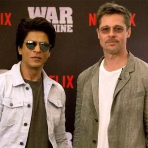 PHOTOS: Shah Rukh Khan joins Brad Pitt at the promotion of War Machine