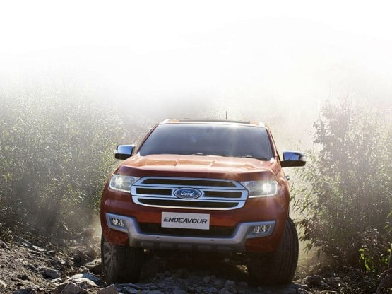 Built on Ford's Edge design philosophy, the new 2016 Ford Endeavour sports a trapezoidal chrome grille with company logo embedded in it along with LED daytime running lights, projector headlamps and stylish fog lamps. The new Endeavour will be equipped with two diesel units - a 2.2-litre, 4-cylinder TDCi and a 3.2-litre, 5-cylinder TDCi.
