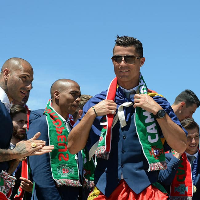 Christiano Ronaldo celebrating Portugal   s victory of EURO 2016 at Presidential Palace in Lisbon