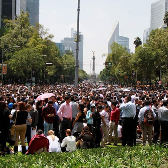 Citizens of Mexico gather on street after earthquake hits the city