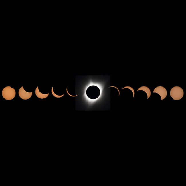 Different stages of the total solar eclipse 2017