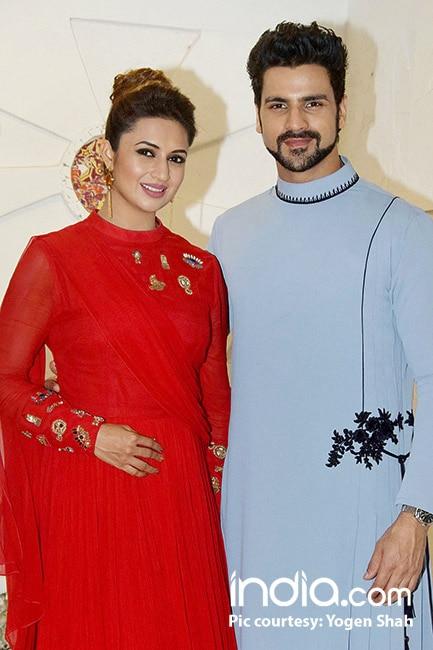 Divyanka Tripathi Dahiya with husband Vivek Dahiya at Sandip Sikand's Diwali bash
