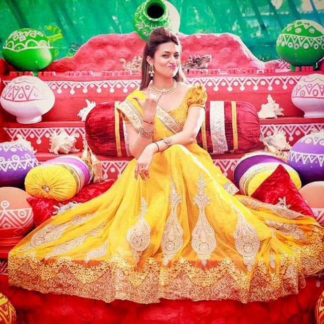 Divyanka Tripathi Poses For A Photo During Haldi Ceremony