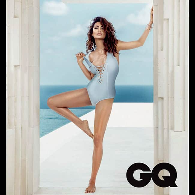 Esha Gupta posing in sultry swimsuit for GQ magazine shoot