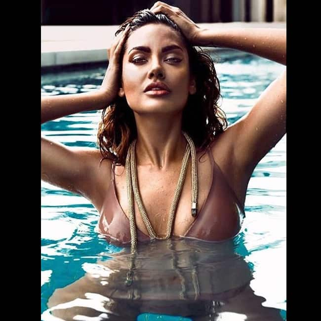 Esha Gupta swimming in super sexy swimwear