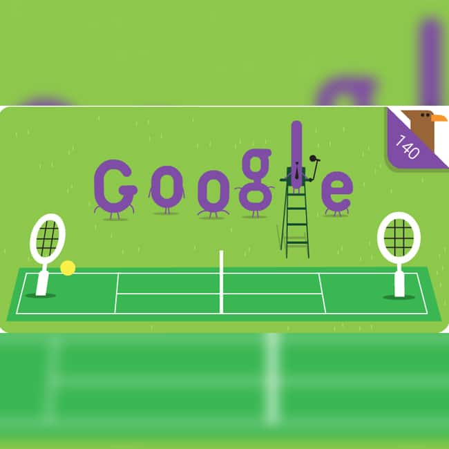 Google Doodle marking 140th Anniversary of Wimbledon