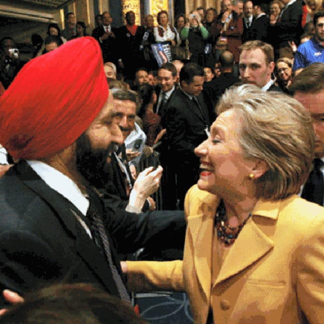 Hillary Clinton with Sant Singh Chatwal