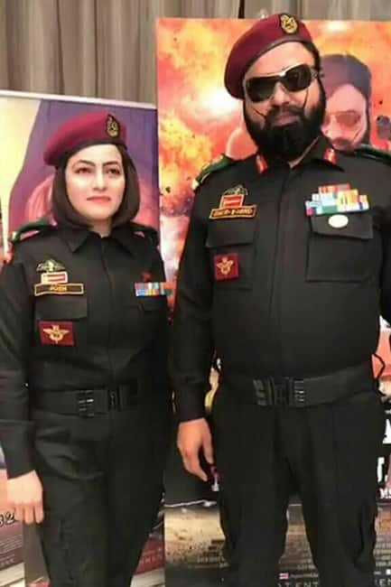 Honeypreet Insan dressed as a soldier with Gurmeet Ram Rahim