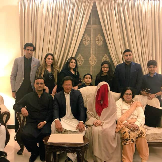Imran Khan and Bushra Manek pose with their family