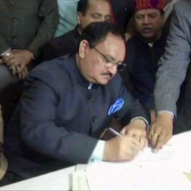 J P Nadda files nomination for HP Rajya Sabha candidature