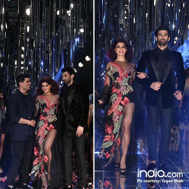 Jacqueline Fernandez and Aditya Roy Kapur as show stopper for Manish Malhotra   s show