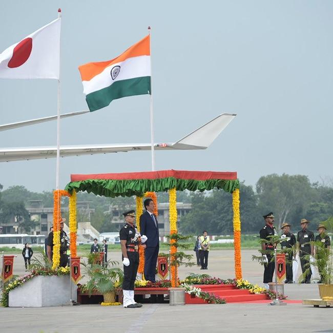 Japanese Prime Minister Shinzo Abe at Ahmedabad airport