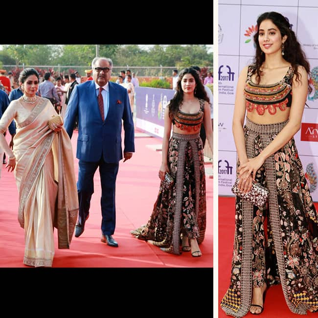 Jhanvi Kapoor with mother Sridevi Kapoor and father Boney Kapoor at IFFI 2017