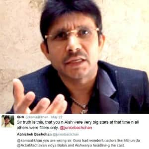 KRK gets into ugly Twitter war of words with Abhishek Bachchan