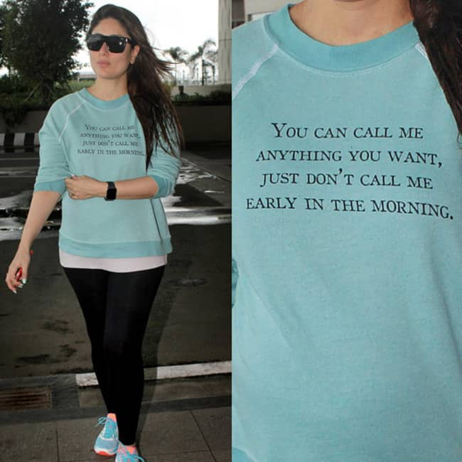 Kareena Kapoor Khan snapped in a quote tee-shirt