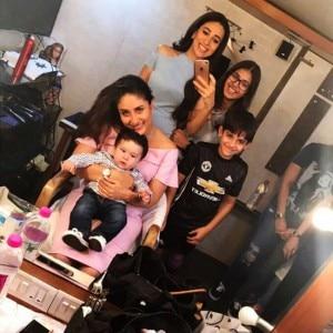 Kareena Kapoor Khan and Karisma Kapoor shoot an ad together; kids Sameira, Kiaan and Taimur accompany!