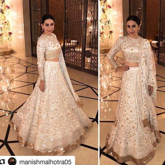 Karisma Kapoor in Manish Malhotra for Mohit Marwah   s wedding