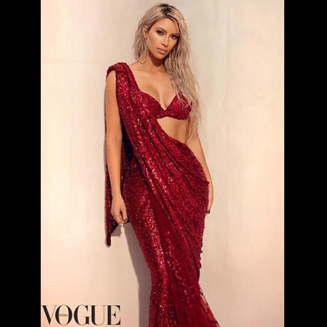 Kim Kardashian in Sabyasachi sari for Vogue magazine shoot