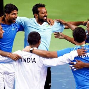 Davis Cup: Leander Paes, Ramkumar Ramnathan's VICTORY DANCE is something you will see first time, see pics!