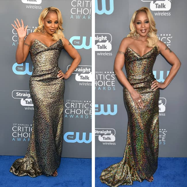 Mary J Blige at red carpet of 23rd Critics' Choice Awards