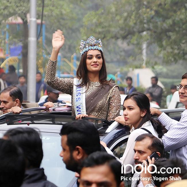 Miss World Manushi Chillar reaches her home town Haryana