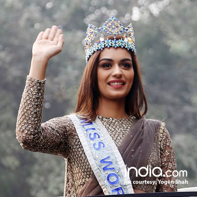 Miss World Manushi Chillar visits home