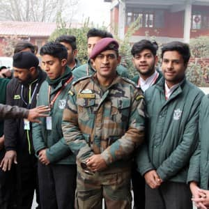 PHOTOS: Mahendra Singh Dhoni visits DPS Srinagar, interacts with students and teachers