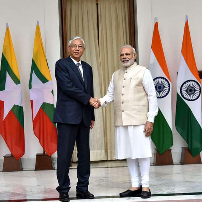 Image result for image of Myanmar President U. Htin Kyaw with Narendra Modi at Hyderabad House in New Delhi on Monday