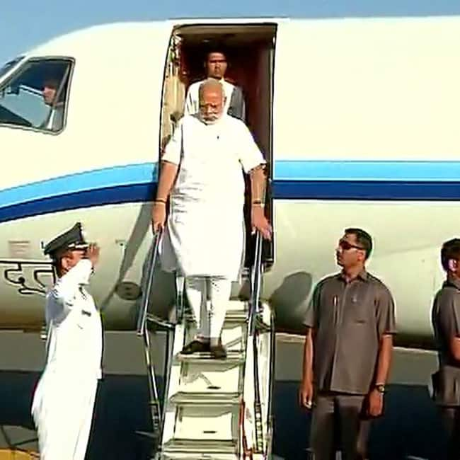Narendra Modi arrives at Diu airport
