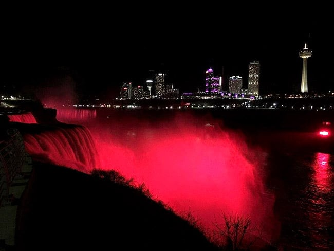 Niagara Falls lit up red in the United States