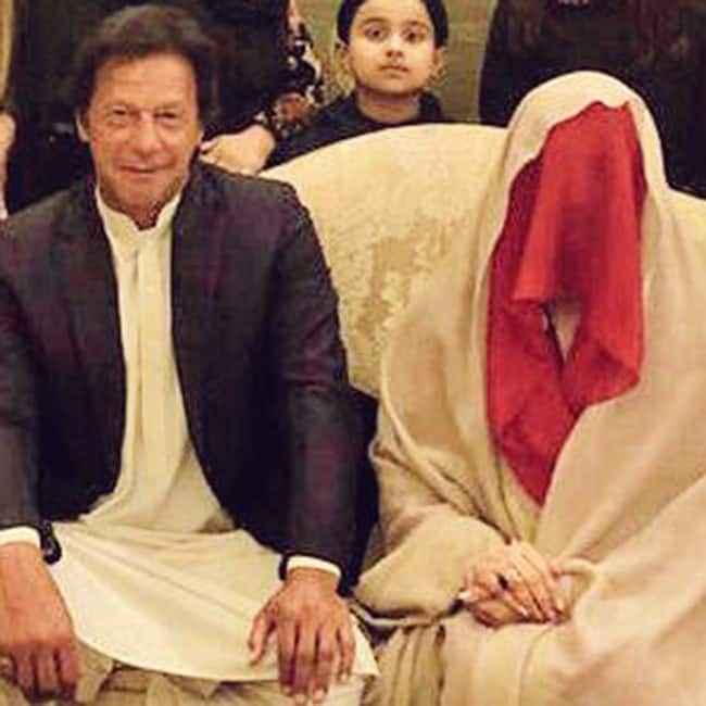 Pakistani political leader Imran Khan with wife Bushra Manek