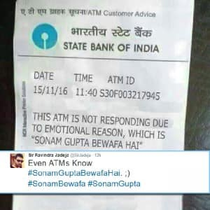 Picture of Sonam Gupta Bewafa Hai quote on ATM receipt | 7 Sonam ...