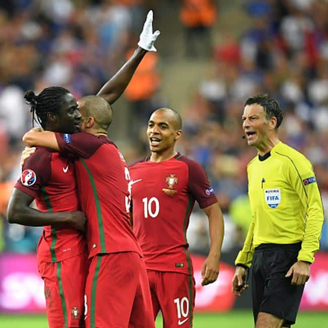 Players of Portugal clicked during UEFA Euro Cup 2016 finals