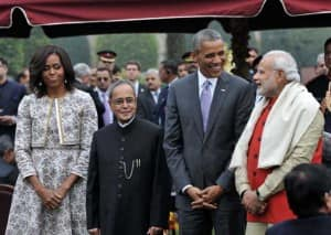 US President Barack Obama attends 'At Home' ceremony at Rashtrapati Bhawan (In pics)