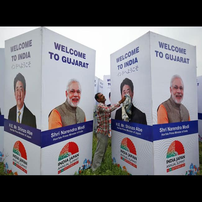 Preparations for Shinzo Abe's road show in Ahmedabad