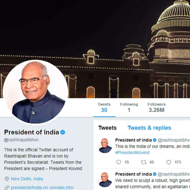 President of India's Twitter account