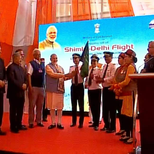 Prime Minister Narendra Modi flagging off UDAN flight in Shimla