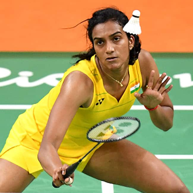 P V  Sindhu clicked while playing on day 11 of Rio Olympics 2016